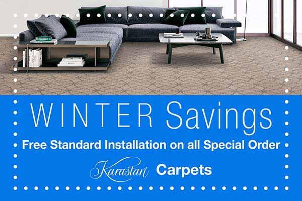 Free standard Karastan carpet installation during our winter savings sale at Abbey Van Dam Carpet in Marysville