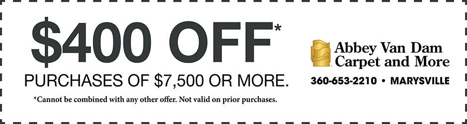 Take $400 off purchases of $7,500 or more