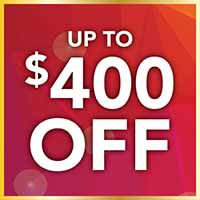 Take up to $400 off your purchases up to $7,500 or more